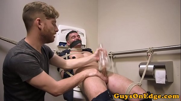 Male sub restrained  for edging blowjob